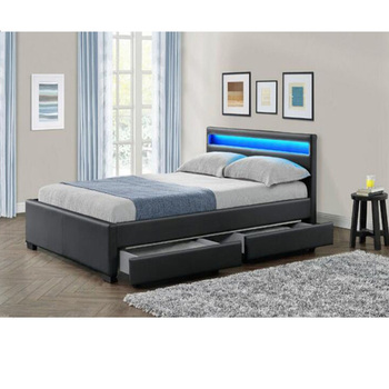 6eb087bc5ae0 Latest Double Bed Design Led Leather Bed With Storage Wood Box - Buy ...