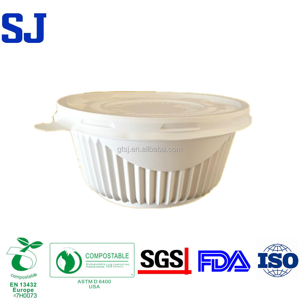 Eco friendly Biodegradable Compostable Disposable Plastic Salad Rice Bowl with Lid
