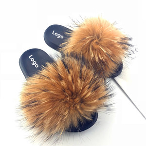 Factory wholesale Real Fur Slides Fox Fur China Rubber Slipper Women Outdoor Indoor Sandal Real Fox Fur Slides