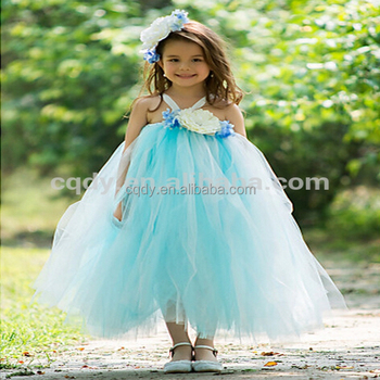 New Design Skyblue Flower Girl Dress With Silk Flower 6 Year Old