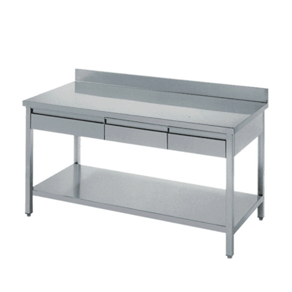 Stainless steel kitchen prep utility work table with drawers, View  stainless steel prep table with drawers, Kindle Product Details from Foshan  Kindle