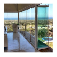 High Quality Frameless Exterior Door Glass Sliding Folding Door for Entrance