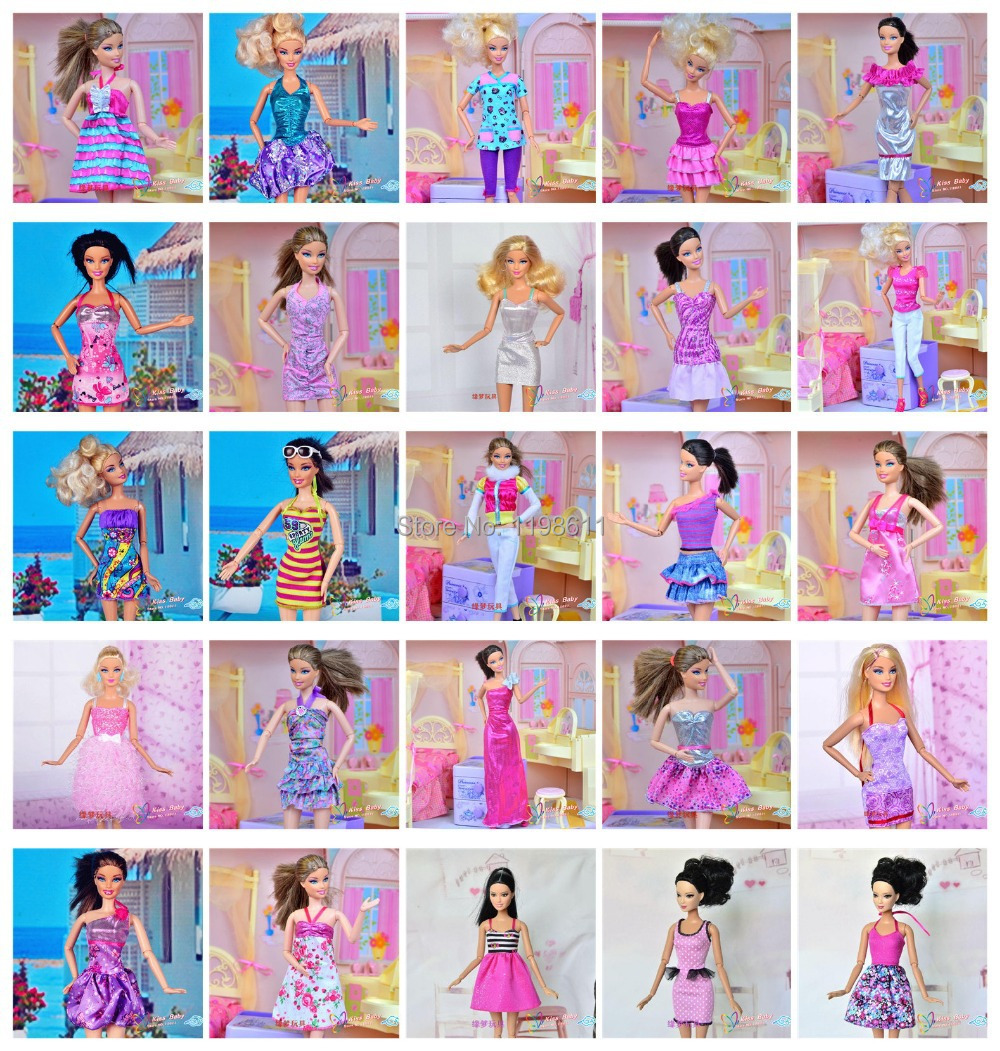 Free Shipping 30 piece lot New Fashion Wear Set Stylish Outfits Casual Clothes for Original Barbie
