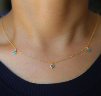 Drop shipping 3mm square turquoise stone drip drop dainty delicate chain 925 sterling silver jewelry necklace