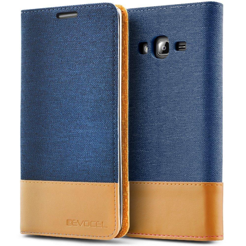 Galaxy J3 (2016) / Galaxy Express Prime / J3 V Case, Evocel [FolioSeries] Canvas Flip Case with Magnetic Closure & Kickstand for Galaxy J3 (Model No J320) / Galaxy Sky/Galaxy Sol, Navy