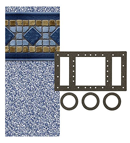 Smartline Laguna 12-Foot-by-24-Foot Oval Liner | UniBead Style | 48-Inch Wall Height | 25 Gauge Virgin Vinyl | Designed for Steel Sided Above-Ground Swimming Pools | Universal Gasket Kit Included