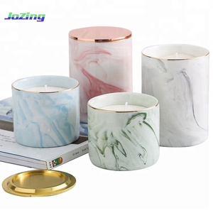 Luxury Design Customize Aromatic Soy Wax Scented Candles In Marbling Ceramic Jar