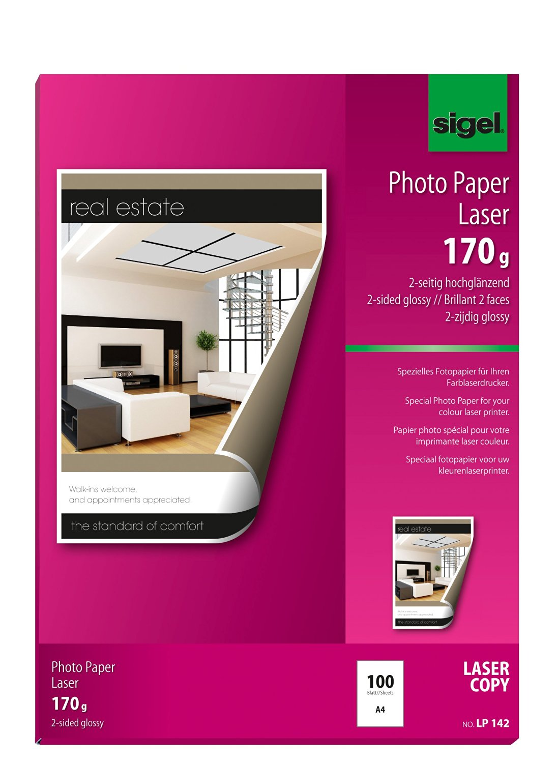 Sigel LP142 Photo Paper for Colour Laser/Copier, 2-sided glossy, 114.9 lbs, A4, 100 sheets