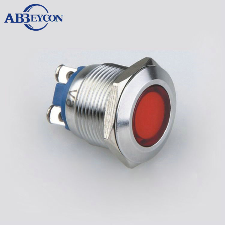 IN34 Flat round screw terminal stainless steel Diameter 19mm LED Blue color Waterproof round dot LED indicator