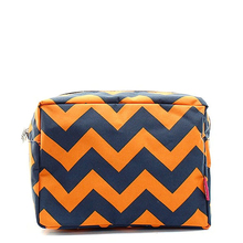 Chevron Navy Orange Custom Large Cosmetic Travel Bag