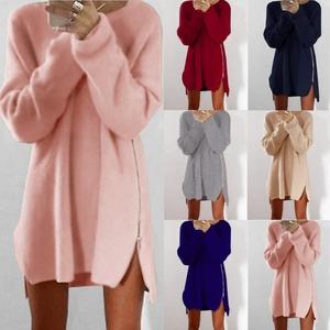Winter Sweaters Party Dresses Women Long Sleeve Jumper Tops Cotton Sweater Loose Zipper Tunic Mini Dress Vestidos