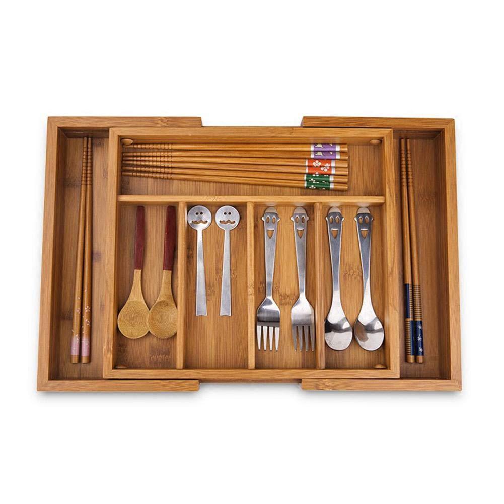 Extensible De Bambú Caja De Cubiertos Madera Cocina Cajón Organizador Bandeja De Almacenamiento De Utensilios