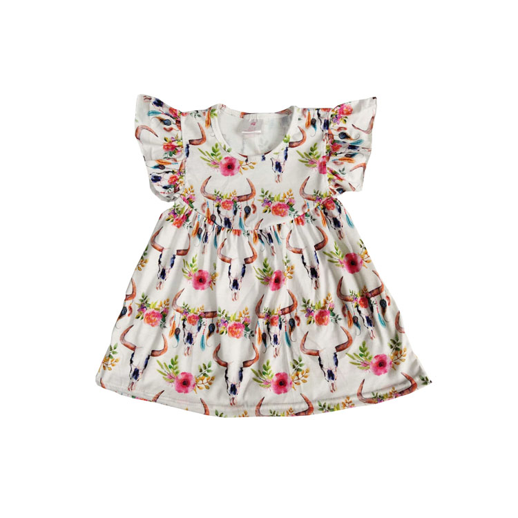 2019 baby cow skull flower pearl dress cute kids clothes smocked children clothing, As picture