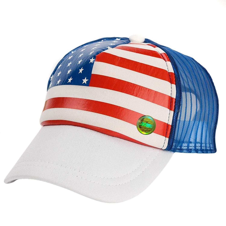 5d8008f89eb Get Quotations · LOCOMO Kid US USA Country Flag Mesh Back Snapback Baseball  Cap FBH021BLK
