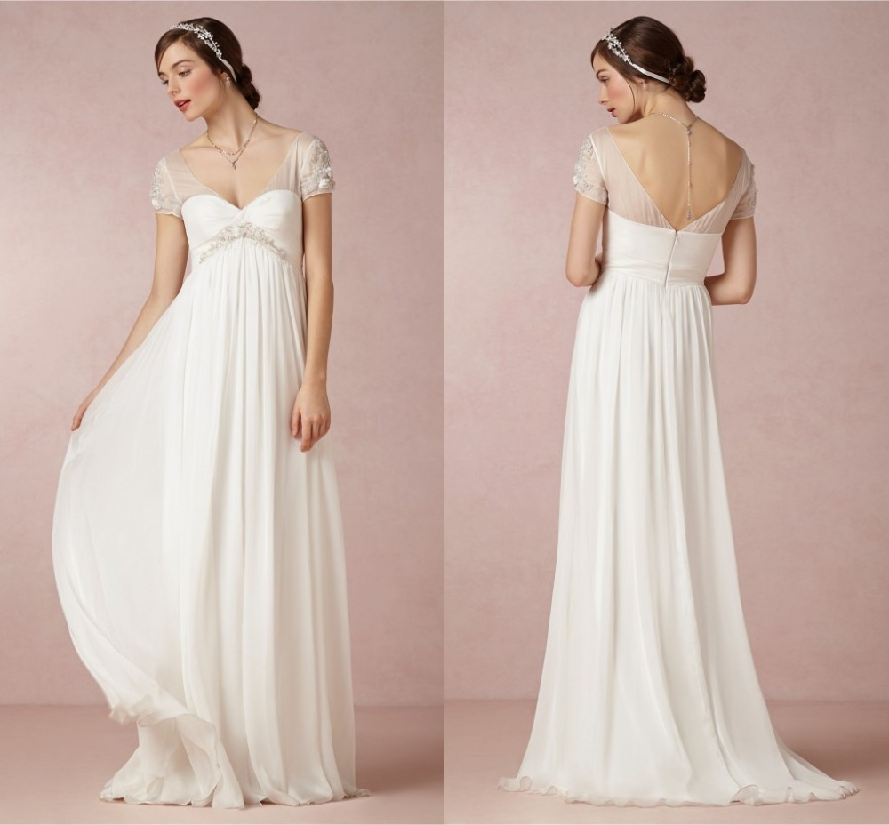 2015 Hot Sale Wedding Dresses Empire Chiffon Short Sleeve