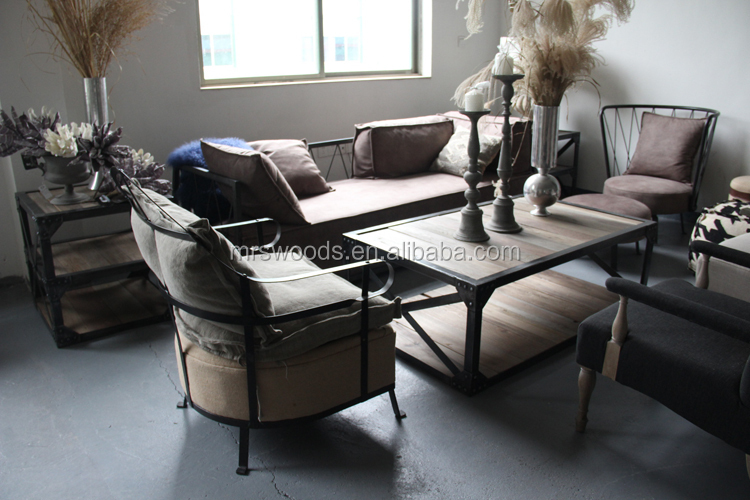 Industrial Living Room Coffee Table, Recycyeld Fir Wood Rectangular Bar  Style Coff Table With Iron