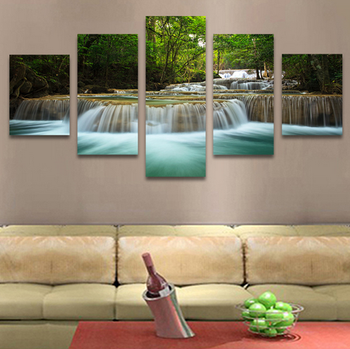 5 Panel Waterfall Painting Canvas Wall Art Picture Home Decoration Living Room Print View Larger Image