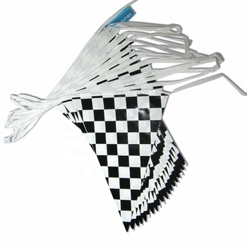 Factory supply Double side Printed 10m long Chequered Flag Line Race car Pennant Bunting Banner For Car racing