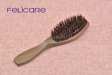 Customized Green Sandalwood and boar bristle wooden hair brush professional