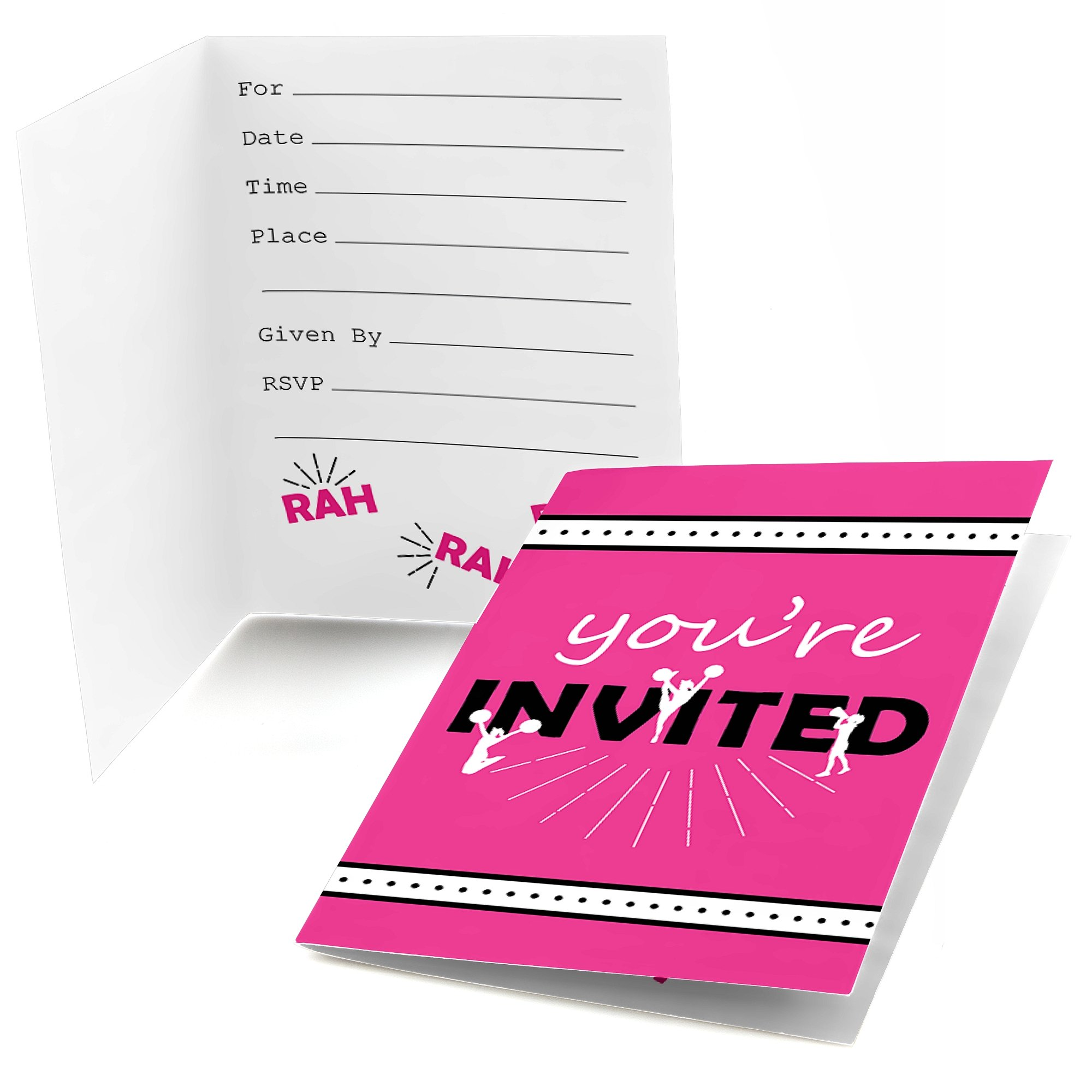 We've Got Spirit - Cheerleading - Fill In Birthday Party or Cheerleader Party Invitations (8 count)
