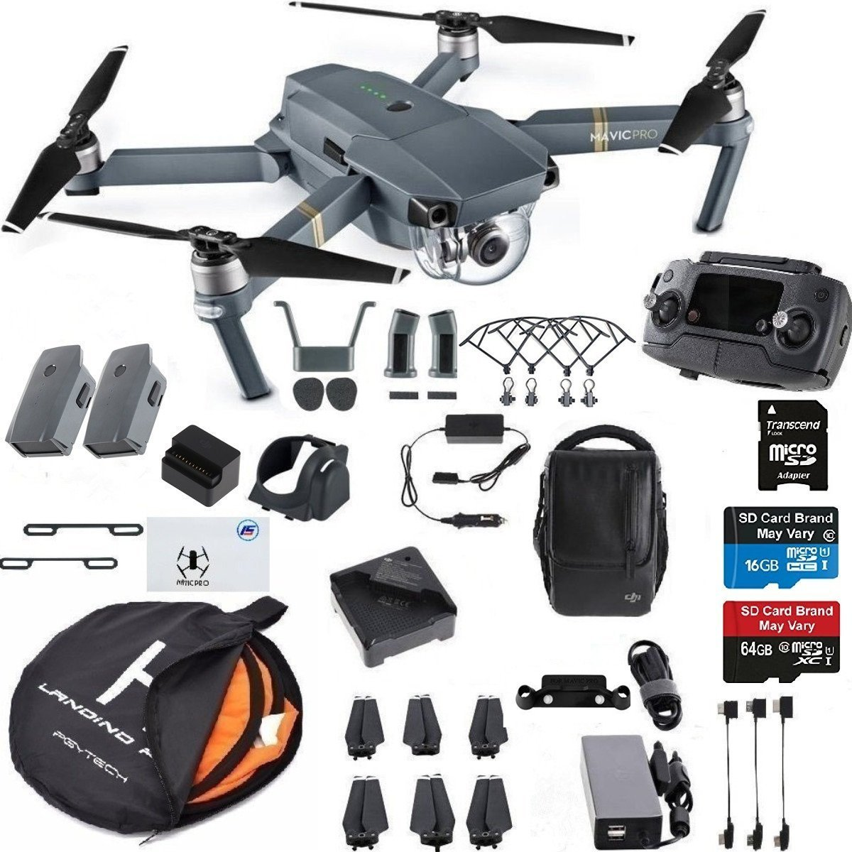 DJI Mavic Pro Fly More Combo Collapsible Quadcopter Drone Safety Bundle with Extra 2 Batteries, Landing Pad Kit and More Accessories (Certified Refurbished)