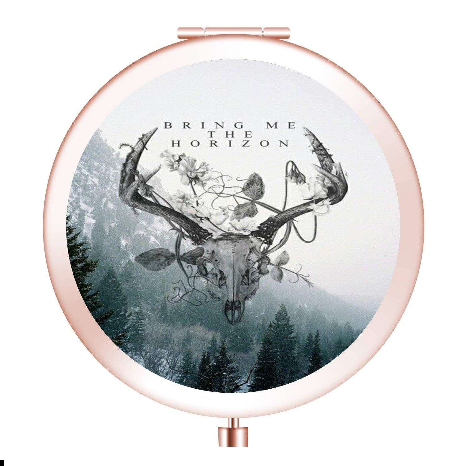 Makeup Mirror, Compact Folding Travel Mirror Double Sides - 2x & 1x Magnifying Mini Round Handhold Makeup Pocket Mirror Perfect for Beauty, Skin Care and Travel - Deer Skull12