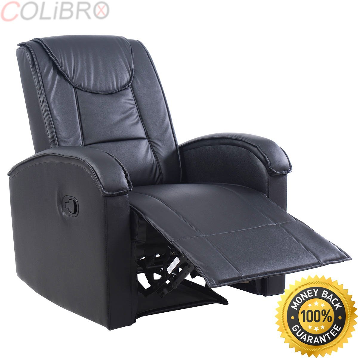 COLIBROX--Ergonomic Sofa Chair Recliner Lounge Deluxe PU Leather Home Furniture Black New.massage sofa chair.heated massage recliner.reclining sectional with massage and heat.recliner chair walmart.