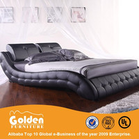 Online bedroom furniture prices black leather bed for sale G814#