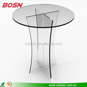 Clear Acrylic Round Table with Cross Base Portable