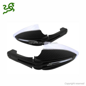 Carbon Motorcycle handguards with White +Yellow Led Turning lights for scooter ATV DIRT BIKE Motocross hand guards