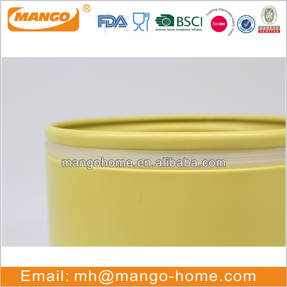 Yellow color iron metal food storage can