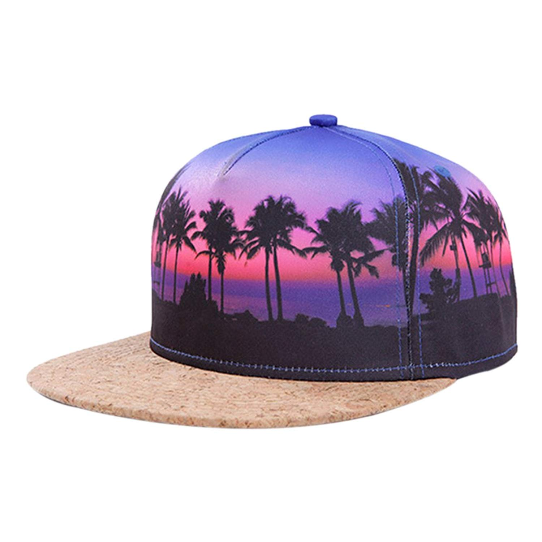 8211cd53 Get Quotations · So'each Galaxy Hawaii Coconut Tree Print Flatbill Visor  Snapback Cap Baseball Hat