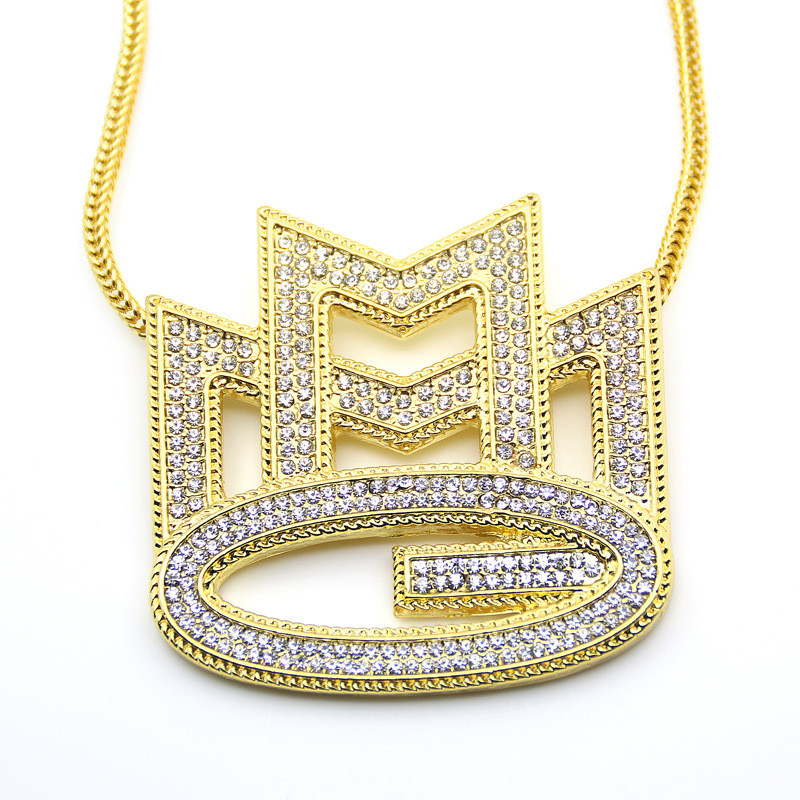 Shiny Jewelers USA Mens Iced Out Tilted Crown Alphabet D F Pendant Cuban Chain Hip Hop Necklace E