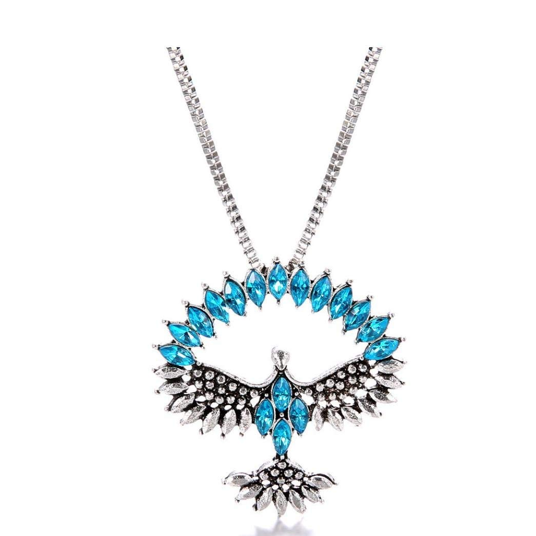 LLguz Simple Women Fashionable Personality Crystal Eagle Pendants Necklace Clavicle Chain Jewelry