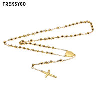 stainless steel 18k dubai gold plated rosary necklace charms for rosaries religious catholic jewelry CY345
