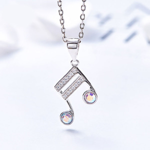 925 Sterling Silver Bridal Jewelry Diamond Austria Crystal Musical Note Necklace