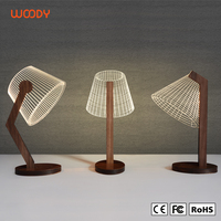 Woody high quality 3D Vision Night Light wooden base Lamp3D LED table lamp