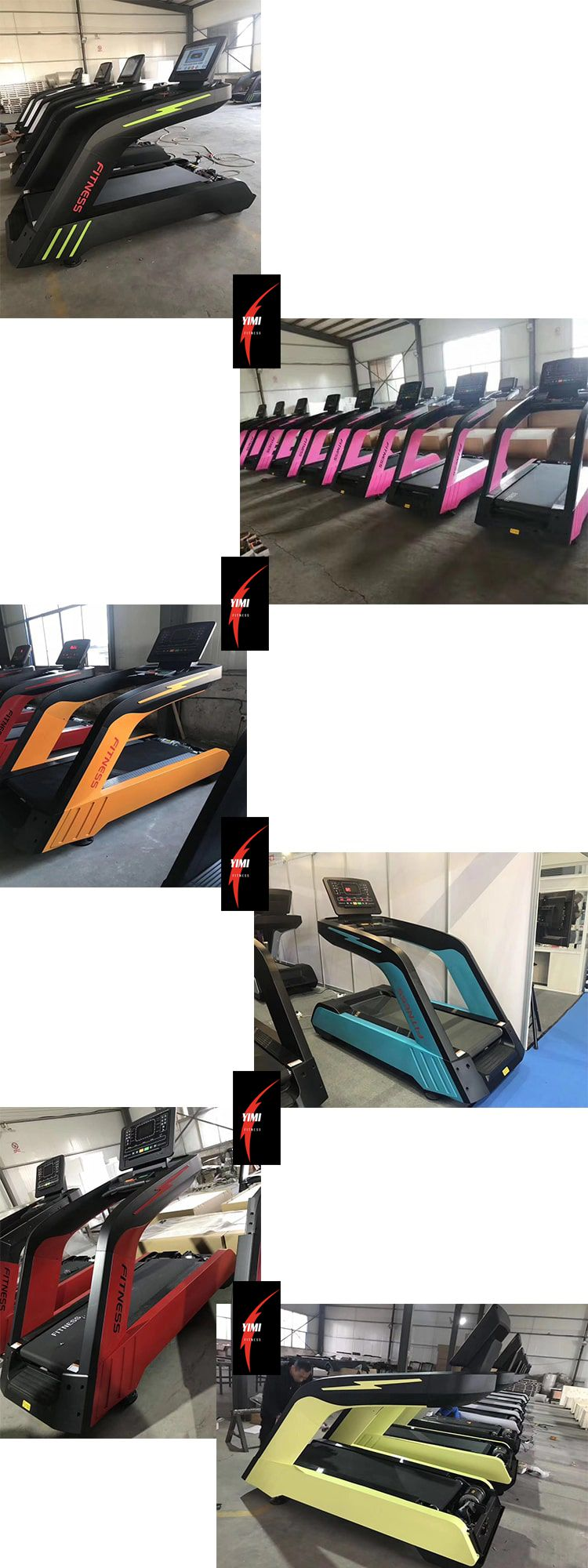 Blue Green Pink Black Sliver  AC Motor 3.0 Cheap Treadmill For GYM Club