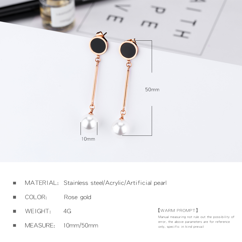 Custom Logo Rose Gold Drop Pearl Gemstone Earring For Women