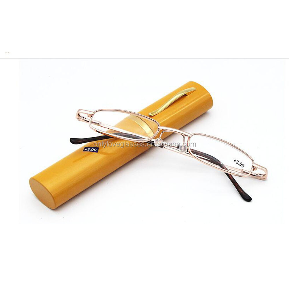 Custom cheap slim tube metal reading glasses