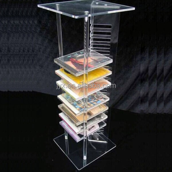 Standing engraved clear acrylic unique cd rack, cd racks for wholesale