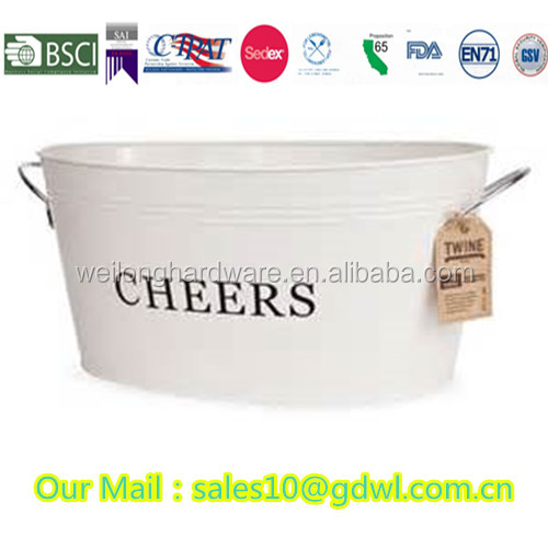 24L White Galvanized Metal oval wine ice bucket/beer bucket/beer tub