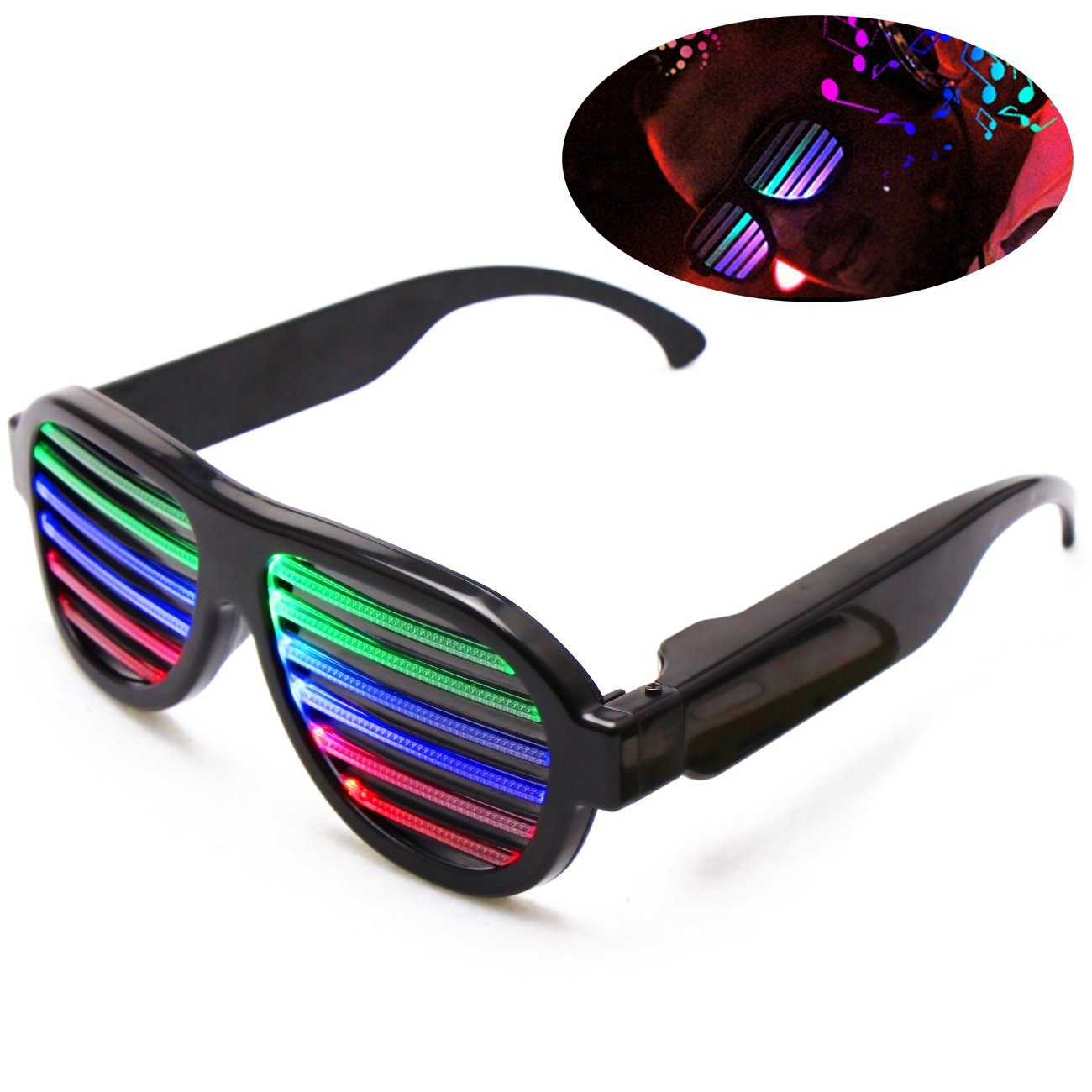 818fe21f681 Get Quotations · Comsmart Rechargeable Music Light Up Glasses Slotted LED Party  Glasses Sound Activated for Clubbing Rave Disco
