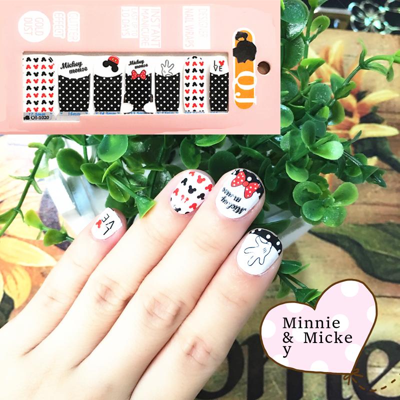 Black Rad mik Mouse child Nail Arts Nail Sticker Waterproof Nail Decal Sticker Gel Polish French