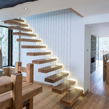 Contemporary Floating Staircase With Stainless Steel Cable Railing