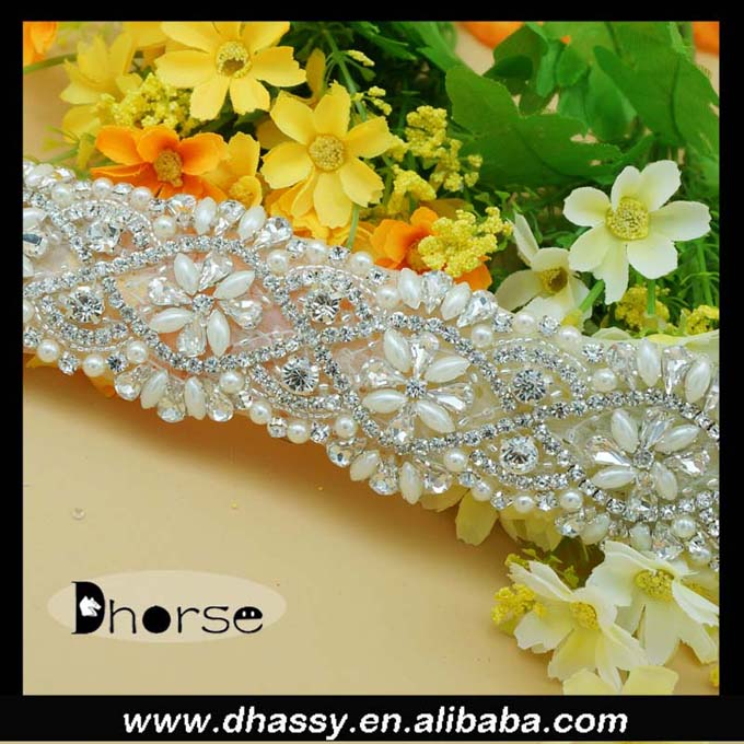 New style hand craft fancy beaded trim crystal rhinestone trim for costume
