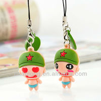 lovely cartoon character design custom made soft pvc keychain,keyring,mobile phone strap