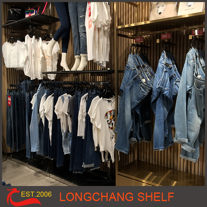Metal hanging jeans display rack for shop