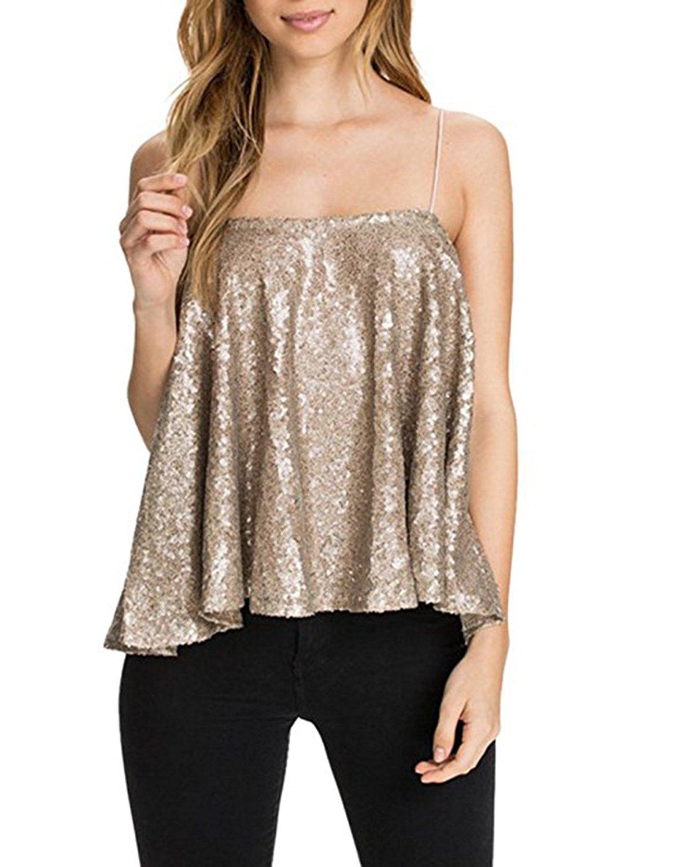 Hodoyi Women Glitter Sequin Cami Crop Tops Vest Club Wear(XL,Gold)