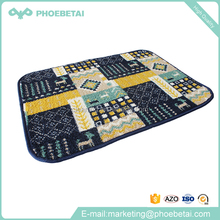 High quality washable absorbent microfiber coral fleece custom floor mats printed